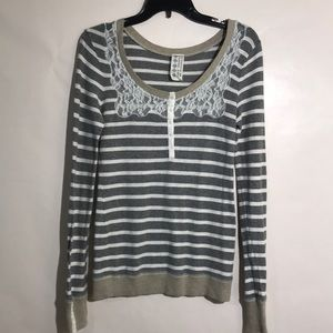 Free People lace henley pull over stripes medium